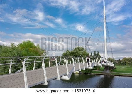 Mast on the Christchurch foot bridge over the River Thames in Reading, UK.