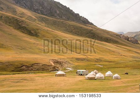 Asian yurts of the nomads on the beautiful mountain meadow in At Bashi, Kyrgyzstan. Kyrgyzstan's population is 5.2 million. The country is rural