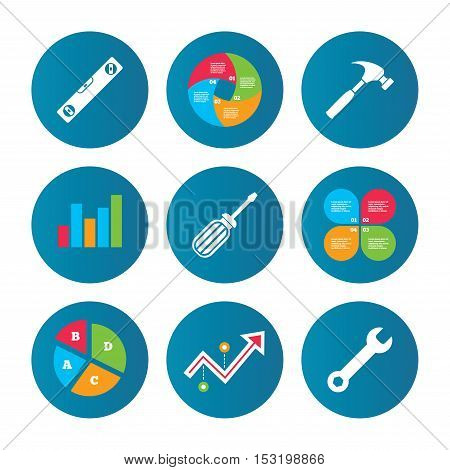 Business pie chart. Growth curve. Presentation buttons. Screwdriver and wrench key tool icons. Bubble level and hammer sign symbols. Data analysis. Vector