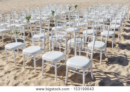 Chairs in a row for the wedding ceremony. On the beach.