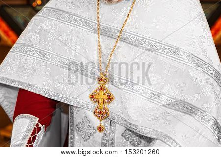 Worship crosses and icons of the priest
