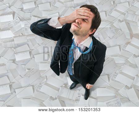Businessman Has Headache. Disappointment And Failure Concept. A