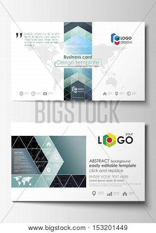 Business card templates. Cover template, easy editable, abstract flat design vector layout. Chemistry pattern, hexagonal molecule structure. Medicine, science, technology concept