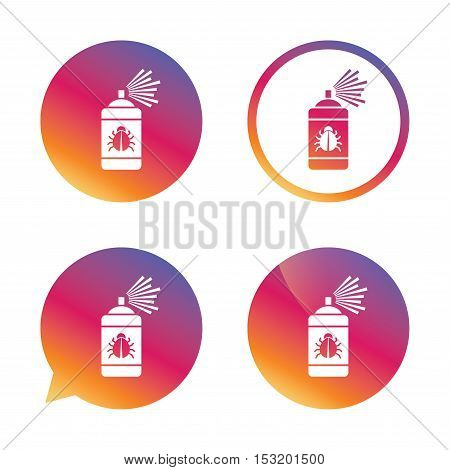 Bug disinfection sign icon. Fumigation symbol. Bug sprayer. Gradient buttons with flat icon. Speech bubble sign. Vector