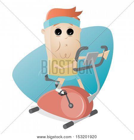 funny man training on indoor bike trainer