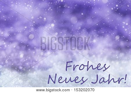 German Text Frohes Neues Jahr Means Happy New Year. Purple Christmas Background Or Texture With Snow And Snowflakes. Copy Space For Your Text Here