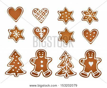 Set of gingerbread cookies. Decorative gingerbread man stars hearts and christmas tree with icing on white background. Isolated vector objects