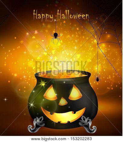 Halloween witches cauldron with Jack O Lantern face yellow potion and spiders on dark background, illustration.