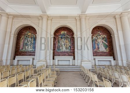 Hall for prayers in Sanctuary Fatima. Portugal.