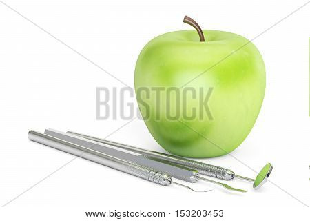 Green apple and dental tools 3D rendering isolated on white background