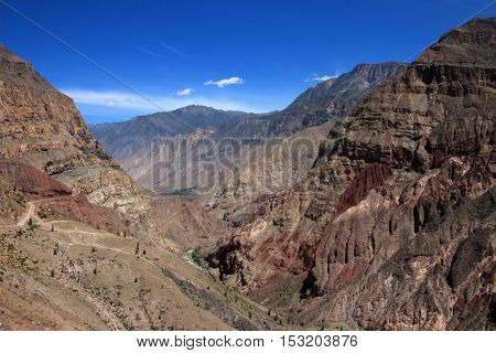 Cotahuasi Canyon Peru, view into deep canyon, one of the deepest and most beautiful canyons in the world