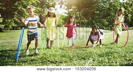 Hula Hoop Friends Girls Playful Nature Offspring Concept