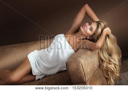 Sensual Woman In White Towel.