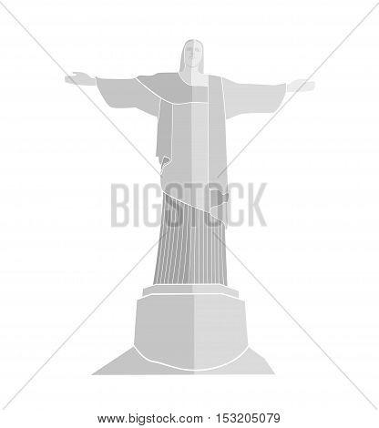 flat silhouette of Statue Of Christ in Rio De Janeiro