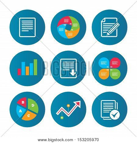Business pie chart. Growth curve. Presentation buttons. File document icons. Download file symbol. Edit content with pencil sign. Select file with checkbox. Data analysis. Vector