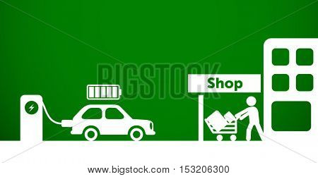 Electro mobility, electric car charging by shop. Sustainable development, ecology & green energy concept.