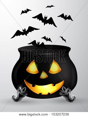 Cartoon Halloween witchs cauldron with Jack O Lantern eyes mouth and nouse with flying bats isolated on white could be used for Halloween design