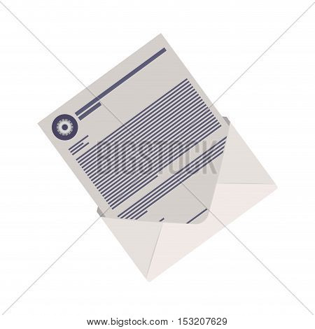 envelope mail with letter page icon over white background. vector illustration