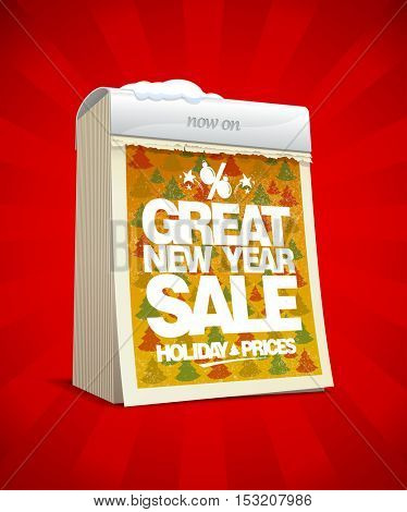 Great new year sale banner, tear-off calendar, winter holiday prices concept