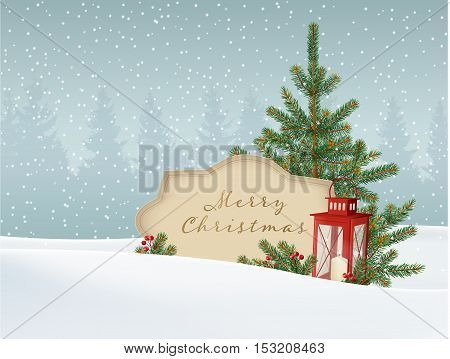Retro vintage Christmas greeting card invitation. Snowy winter landscape with fir spruce Christmas tree paper label for text and red lantern. Vector illustration background.