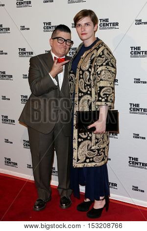 NEW YORK-APR 2: Actress/comedian Lea DeLaria (L) and fiance�© Chelsea Fairless attend the 2015 Center Dinner at Cipriani Wall Street on April 2, 2015 in New York City.