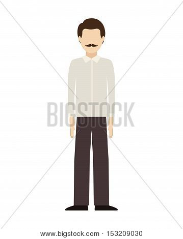 avatar male man standing wearing executive clothes over white background. vector illustration