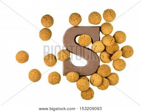 Bunch Of Pepernoten Cookies With Chocolate Letter