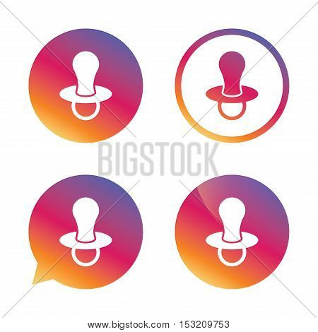 Baby's dummy sign icon. Child pacifier symbol. Gradient buttons with flat icon. Speech bubble sign. Vector