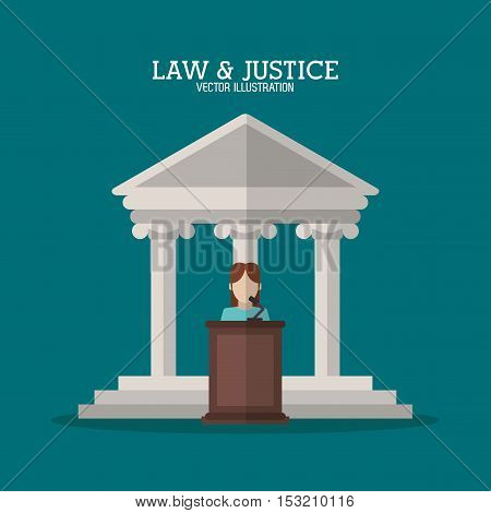 Building and witness icon. Law justice legal and judgment theme. Colorful design. Vector illustration