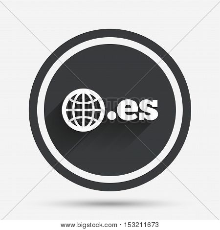 Domain ES sign icon. Top-level internet domain symbol with globe. Circle flat button with shadow and border. Vector