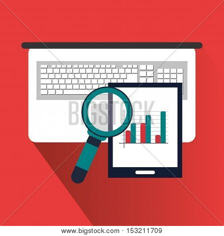 Tablet laptop and lupe icon. digital marketing media and seo theme. Colorful design. Vector illustration