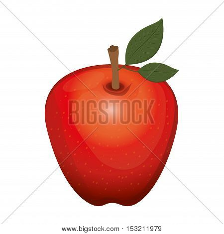 red apple fruit healthy food over white background. vector illustration