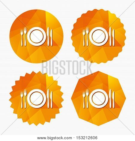 Plate dish with forks and knifes. Eat sign icon. Cutlery etiquette rules symbol. Triangular low poly buttons with flat icon. Vector