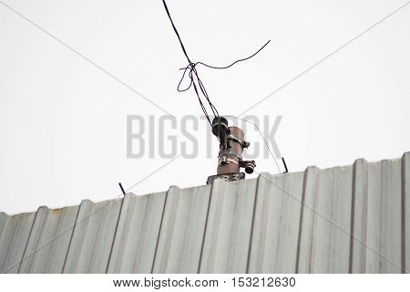 Telephony cable tied together and to pole