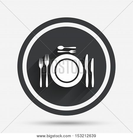 Plate dish with forks and knifes. Dessert trident fork with teaspoon. Eat sign icon. Cutlery etiquette rules symbol. Circle flat button with shadow and border. Vector
