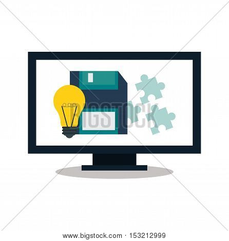 Computer bulb and diskette icon. digital marketing media and seo theme. Colorful design. Vector illustration