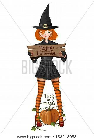 Halloween witch. Cute girl in witch costume holding a sign with the inscription - Happy Halloween. Pumpkin. Trick or treat. Vector cartoon illustration isolated on white background