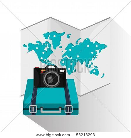 Baggage map and camera icon. travel trip vacation and tourism theme. Colorful design. Vector illustration