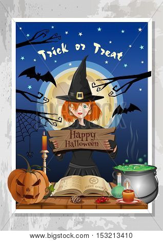 Happy Halloween night party banner with funny cute girl in witch costume on background of night forest and the full moon. Halloween design template. Cartoon vector illustration