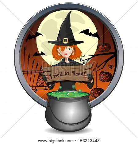 Halloween design. Young witch holding a sign with the inscription - trick or treat. Magic cauldron of green brew. Round sticker. Vector element for design, prints and greeting cards