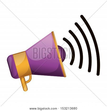 purple speaker device with sound waves icon over white background. vector illustration