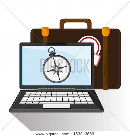 Baggage compass and laptop icon. travel trip vacation and tourism theme. Colorful design. Vector illustration