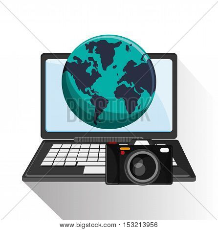 Laptop planet and camera icon. travel trip vacation and tourism theme. Colorful design. Vector illustration