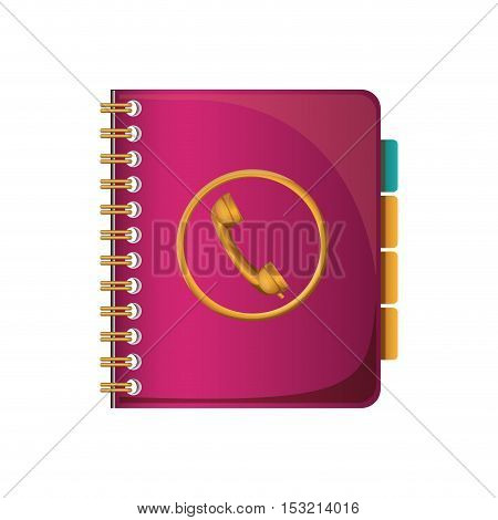 pink directory  notebook with phone icon  over white background. vector illustration