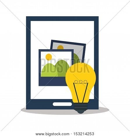 Tablet picture and bulb icon. digital marketing media and seo theme. Colorful design. Vector illustration
