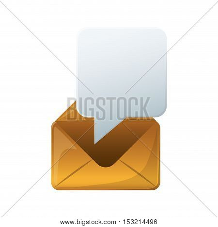 envelope mail  with speech bubble icon over white background. vector illustration