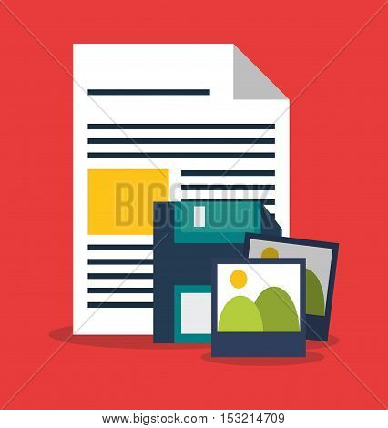 Diskette pictures and document icon. digital marketing media and seo theme. Colorful design. Vector illustration