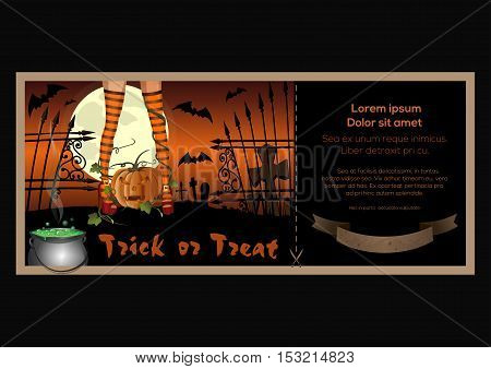 Halloween banner design. Sexy female legs in striped stockings on a background of the cemetery. Jack-o'-lantern. Vector illustration