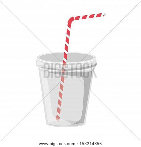plastic cup container with red and white striped straw over white background. vector illustration