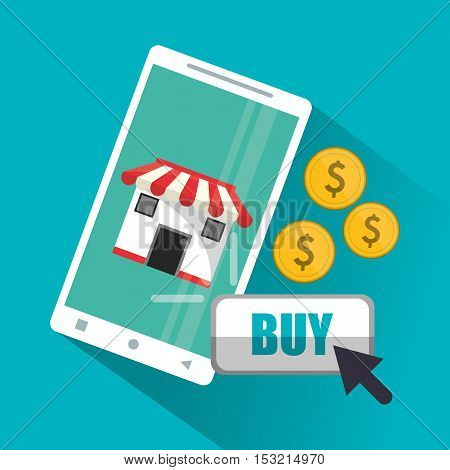 Smartphone coins and store icon. Shopping online ecommerce media and market theme. Colorful design. Vector illustration